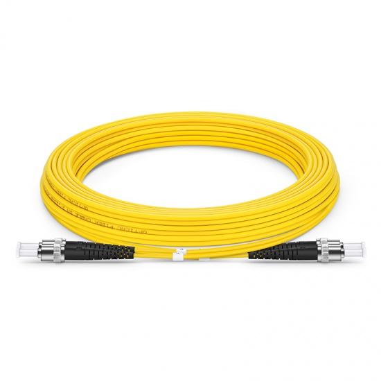 5m (16ft) ST UPC to ST UPC Duplex OS2 Single Mode PVC (OFNR) 2.0mm Fiber Optic Patch Cable
