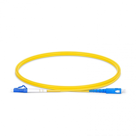 1m (3ft) LC UPC to SC UPC Simplex OS2 Single Mode PVC (OFNR) 2.0mm Fiber Optic Patch Cable