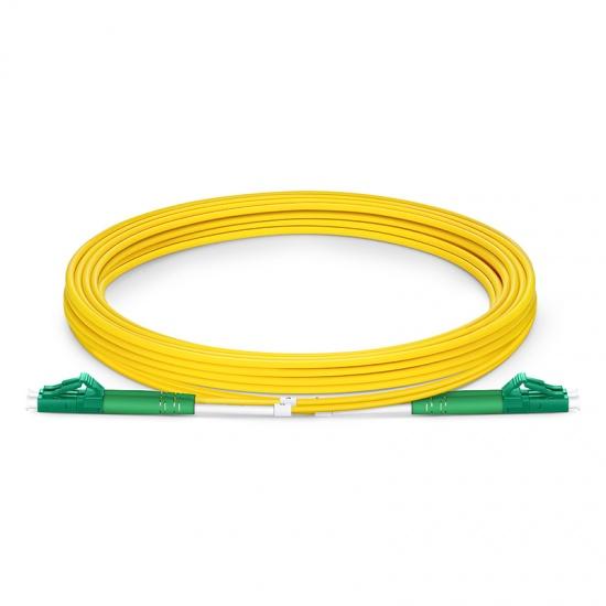 3m (10ft) LC APC to LC APC Duplex OS2 Single Mode PVC (OFNR) 2.0mm Fiber Optic Patch Cable