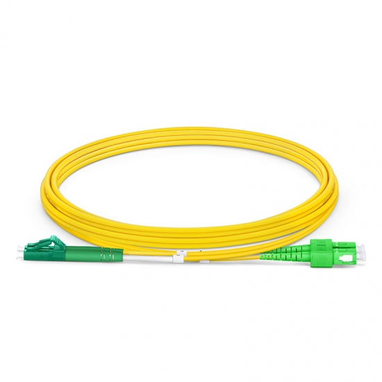 LWL-Patchkabel, 2m (7ft) LC APC auf SC APC Duplex Stecker OS2 Singlemode PVC (OFNR) 2,0mm