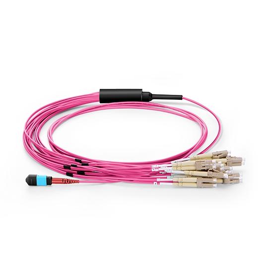 3M 24芯 MTP®(母)-12*LC双工 万兆多模(OM4)50/125 分支光纤跳线LSZH品红色外护套