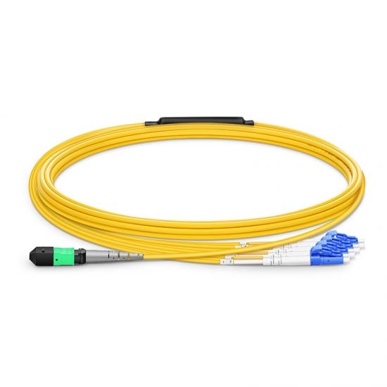 5m 8芯MTP(母)-4*LC/UPC 双工单模OS2分支光纤跳线,极性B,低插损,LSZH