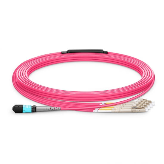 Cable Breakout de Fibra Óptica OM3 (OM4) 50/125 Multimodo MTP a 4 LC 8 Fibras 10m (33ft), tipo B, Élite, LSZH, magenta