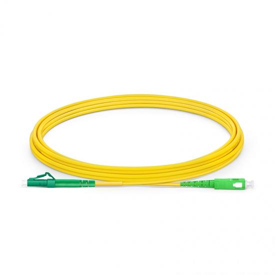 LWL-Patchkabel, 3m (10ft) LC APC auf SC APC Simplex Stecker OS2 Singlemode PVC (OFNR) 2,0mm