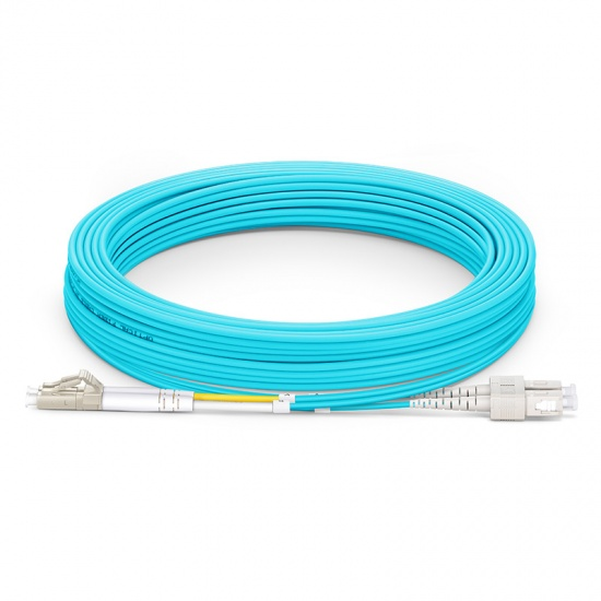 10m LC/UPC-SC/UPC 万兆双工多模OM3光纤跳线 - 2.0mm PVC(OFNR)