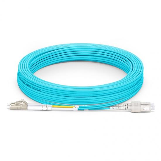 15m LC/UPC-SC/UPC 万兆双工多模OM3光纤跳线 - 2.0mm PVC(OFNR)