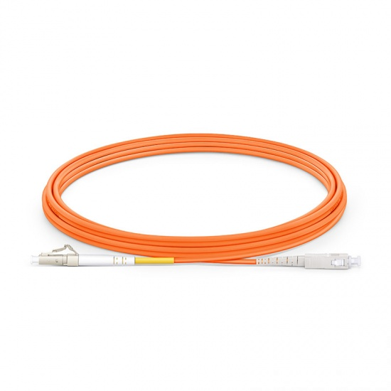 LWL-Patchkabel, 5m (16ft) LC UPC auf SC UPC Simplex Stecker, OM1 Multimode PVC (OFNR) 2,0mm