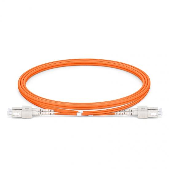 1m SC/UPC-SC/UPC 双工多模OM1光纤跳线 - 2.0mm PVC(OFNR)