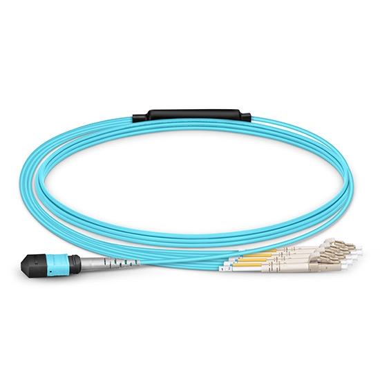 10m 8芯MTP®(母)-4*LC/UPC 双工万兆多模OM4分支光纤跳线,极性B,LSZH