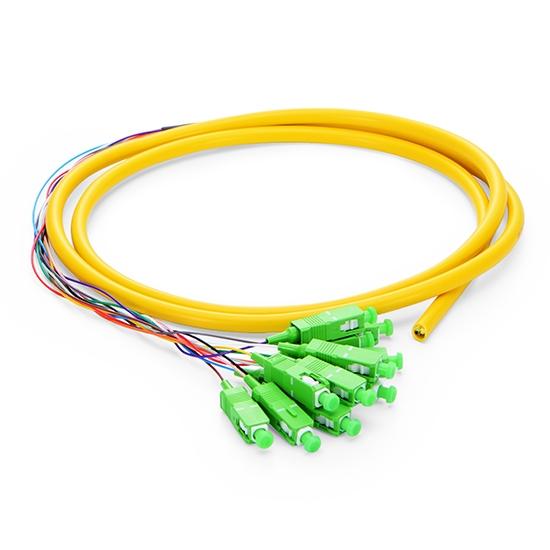 1.5m 12芯 SC/APC 单模 束状圆缆光纤尾纤-0.9mm PVC护套