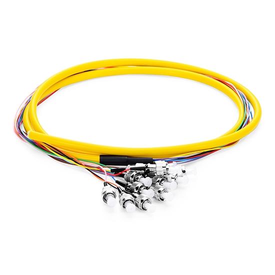 1.5m (5ft) FC UPC 12 Fibers OS2 Single Mode Bunch PVC (OFNR) 0.9mm Fiber Optic Pigtail