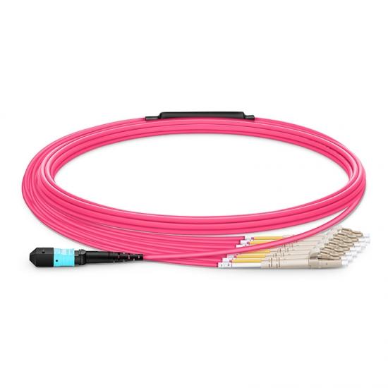 Cable Breakout HD BIF de Fibra Óptica OM3 (OM4) 50/125 Multimodo MTP a 6 LC 12 Fibras 5m (16ft), Tipo A, Élite, LSZH, Magenta