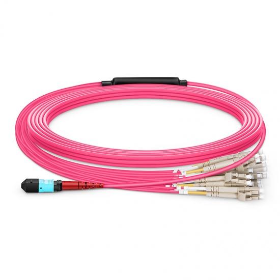 10m 24芯MTP®(母)-12*LC/UPC 双工万兆多模OM4分支光纤跳线,极性B,低插损,LSZH