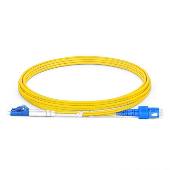 2m (7ft) LC UPC to SC UPC Duplex OS2 Single Mode OFNP 2.0mm Fiber Optic Patch Cable