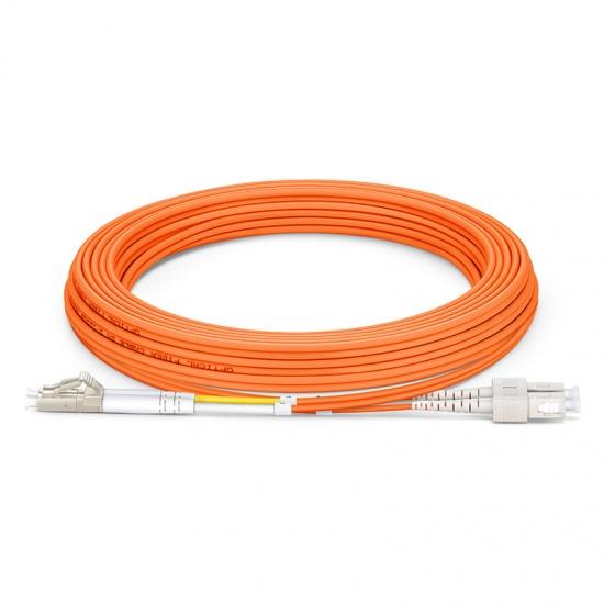 5m LC/UPC-SC/UPC 双工多模OM2光纤跳线 - 2.0mmPVC(OFNR)
