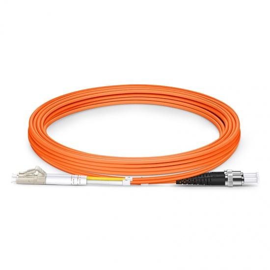 3m LC/UPC-ST/UPC 双工多模OM2光纤跳线 - 2.0mm PVC(OFNR)