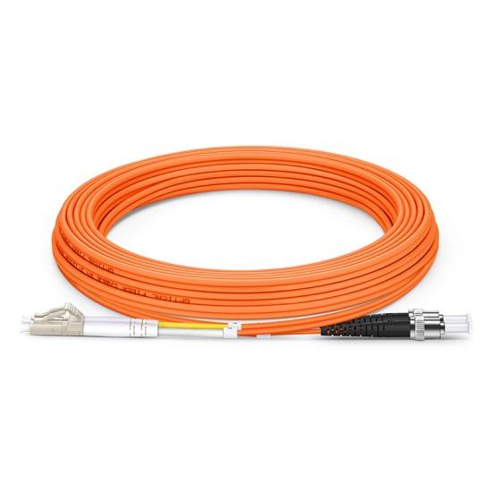 5m LC/UPC-ST/UPC 双工多模OM2光纤跳线 - 2.0mm PVC(OFNR)