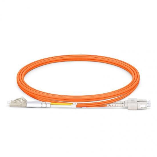 1m LC/UPC-SC/UPC 双工多模OM1光纤跳线 - 2.0mm PVC(OFNR)