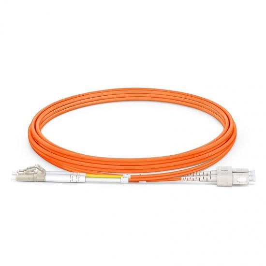 2m LC/UPC-SC/UPC 双工多模OM1光纤跳线- 2.0mm PVC(OFNR)