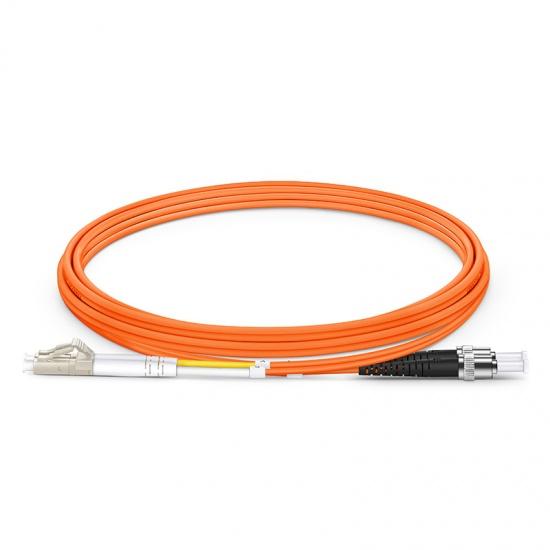 2m LC/UPC-ST/UPC 双工多模OM1光纤跳线- 2.0mm PVC(OFNR)