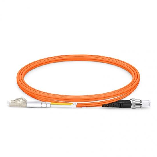 1m LC/UPC-ST/UPC 双工多模OM1光纤跳线 - 2.0mm PVC(OFNR)