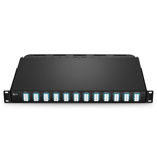 FHU 1U 96F OM4多模 分支配线盒,12xMTP®-24xLC四工,通用极性