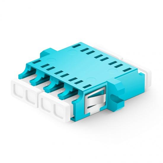 LC/UPC auf LC/UPC 10G Quad OM3 Multimode LWL-Adapter/Führungshülse aus Kunststoff mit Flansch, Hellblau