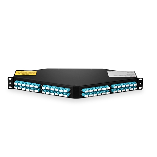8x MTP-12 to 48x LC Duplex, 96 Fibers OM4 Multimode FHU 1U Breakout Patch Panel Angled, Type A, 10/40/100G