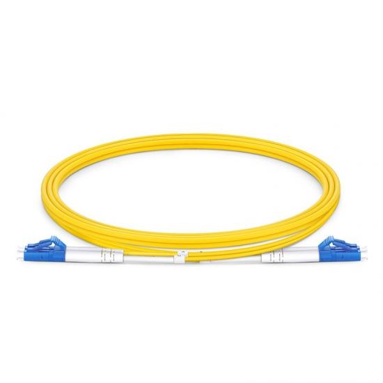 1m (3ft) LC UPC to LC UPC Duplex OS2 Single Mode PVC (OFNR) 2.0mm Bend Insensitive Fiber Optic Patch Cable