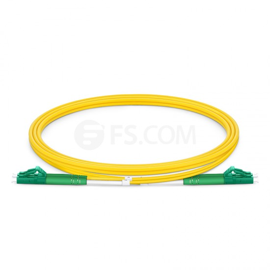 1m (3ft) LC APC to LC APC Duplex OS2 Single Mode PVC (OFNR) 2.0mm Bend Insensitive Fiber Optic Patch Cable