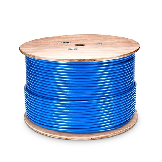 1000ft (305m) Cat7 Shielded and Foiled (SFTP) Solid PVC CMR Blue Bulk Ethernet Cable