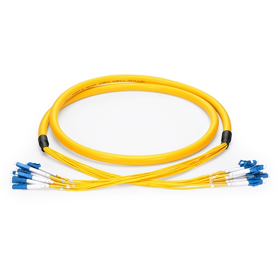 10m (33ft) LC UPC to LC UPC 24 Fibers OS2 Single Mode PVC (OFNR) 2.0mm Indoor Tight-Buffered Multi-Fiber Breakout Cable