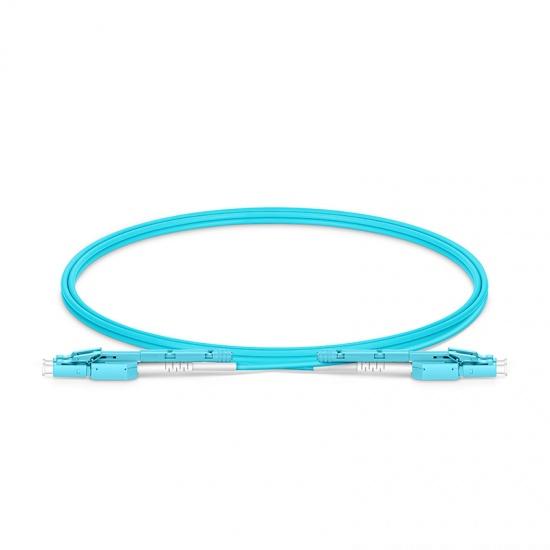 1m LC-LC 双工多模OM4光纤跳线,推拉式一管双芯