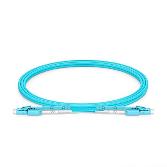 2m LC-LC 双工多模OM4光纤跳线,推拉式一管双芯