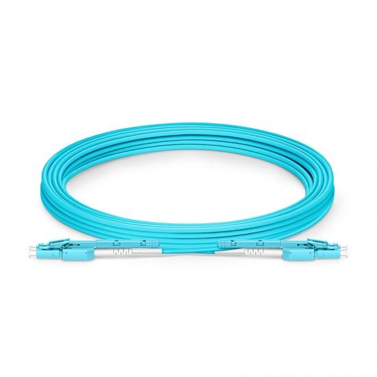 5m LC-LC 双工多模OM4光纤跳线,推拉式一管双芯