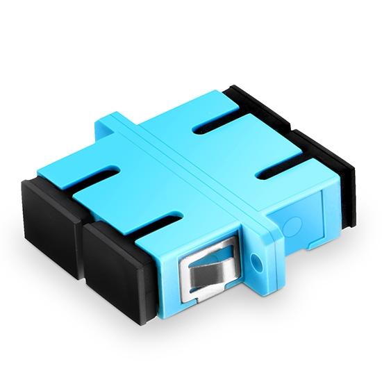 SC/UPC to SC/UPC 10G Duplex OM3 Multimode Plastic Fibre Optic Adapter/Mating Sleeve with Flange, Aqua