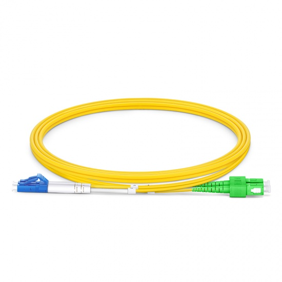 1m LC/UPC-SC/APC双工单模OS2弯曲不敏感光纤跳线-2.0mm PVC(OFNR)