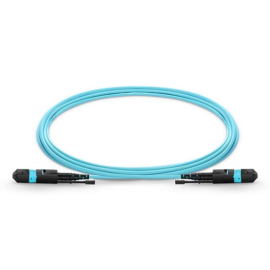 12 -144 芯MTP®(12芯) 万兆多模(OM3)高密度弯曲不敏感主干光纤跳线, 低插损,LSZH