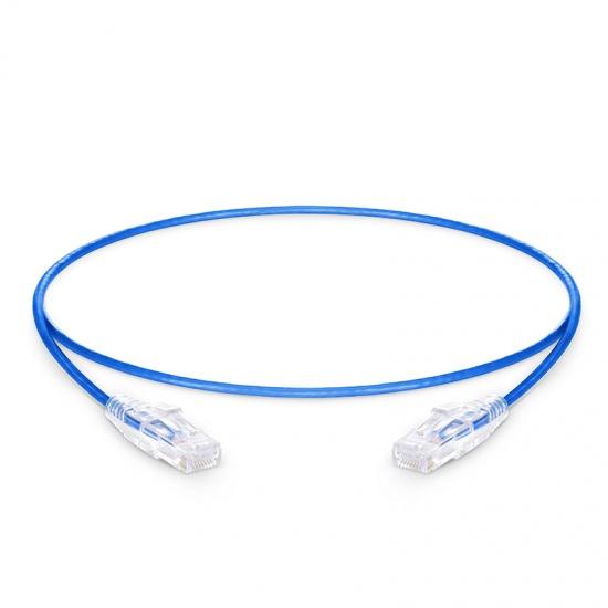 0.5m Cat6六类非屏蔽(UTP)细径网络跳线,卡沟设计,PVC护套,蓝色