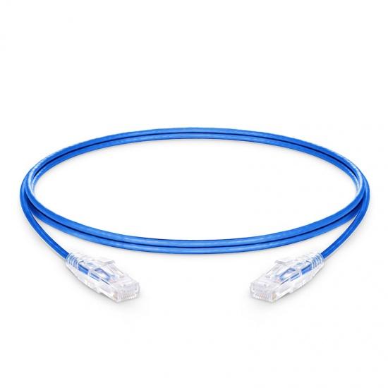 1.5m Cat6六类非屏蔽(UTP)细径网络跳线,卡沟设计,PVC护套,蓝色