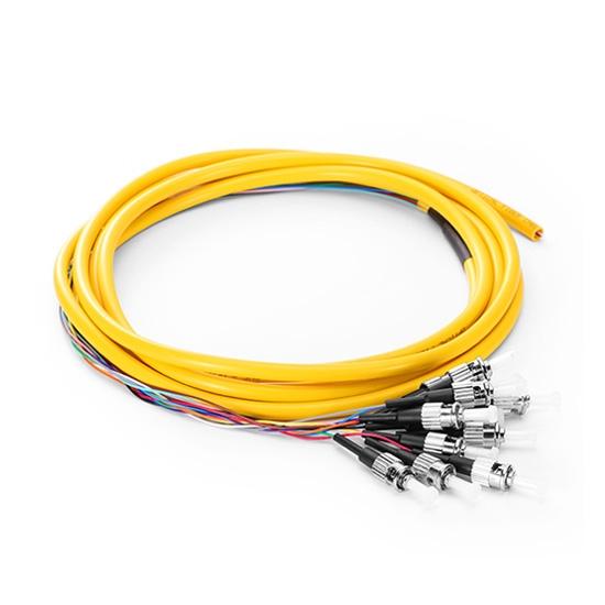 2m 12芯 FC/UPC 单模 束状圆缆光纤尾纤-0.9mm PVC护套