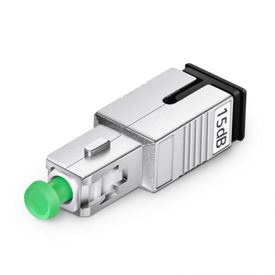 SC/APC Singlemode Fixed Fiber Optic Attenuator, Male-Female, 15dB