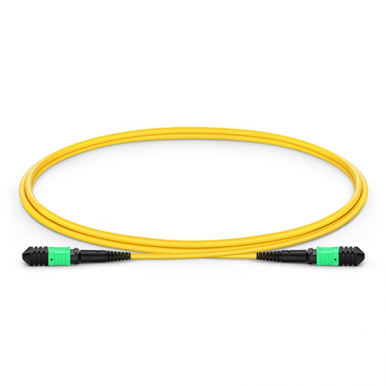 1m (3ft) Senko MPO Female 12 Fibres Type B LSZH OS2 9/125 Single Mode Elite Trunk Cable, Yellow