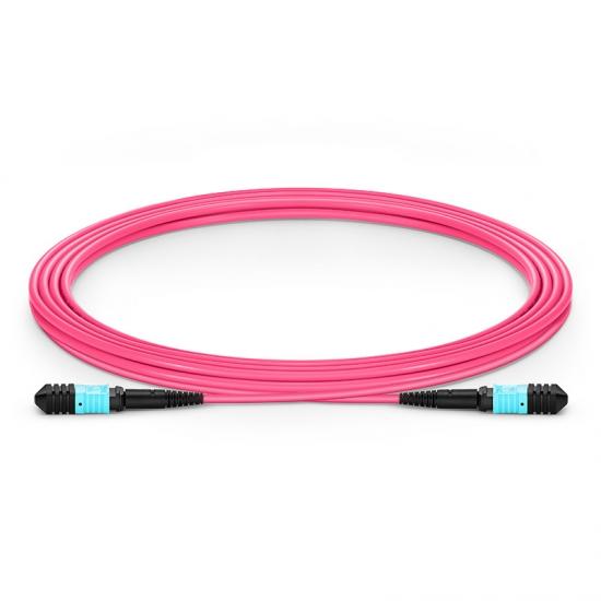 3M 12芯 MPO(母)万兆多模OM4主干光纤跳线,极性B ,低插损,LSZH
