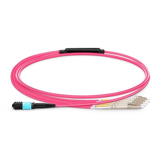 1m 8芯MPO(母)-4*LC/UPC 双工万兆多模OM4分支光纤跳线,极性B,低插损,LSZH