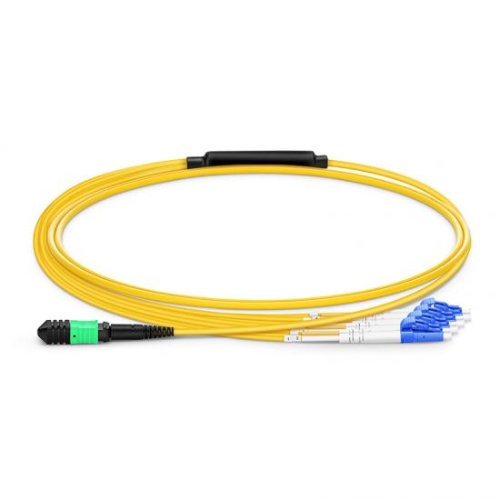 MPO Breakoutkabel, 1m (3ft) MPO Buchse auf 4 LC UPC Duplex, 8 Fasern OS2 9/125 Singlemode, Polarität B, Elite, LSZH, Gelb