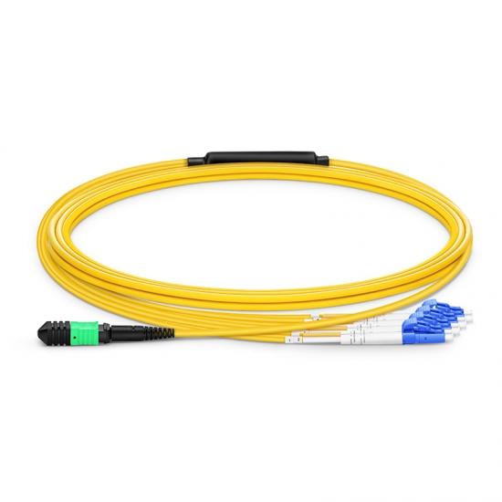 3m 8芯MPO(母)-4*LC/UPC 双工单模OS2分支光纤跳线,极性B,低插损,LSZH