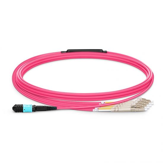 5m 8芯MPO(母)-4*LC/UPC 双工万兆多模OM4分支光纤跳线,极性B,低插损,LSZH