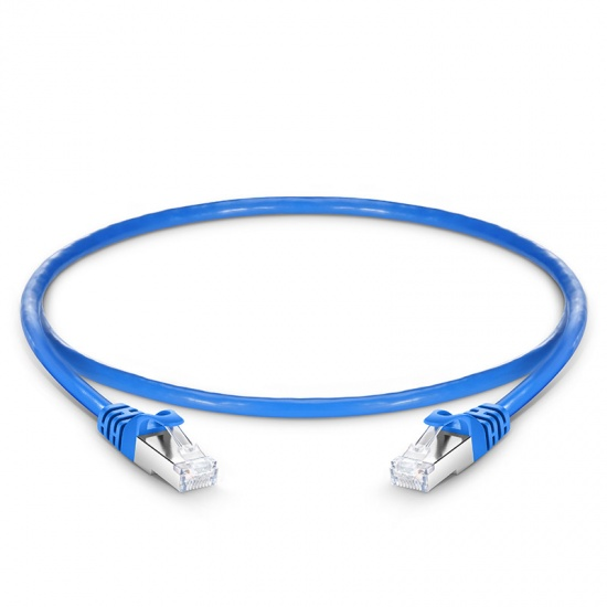 0.3m Cat6a超六类双屏蔽(SFTP)网络跳线,卡沟设计,蓝色,PVC CMX