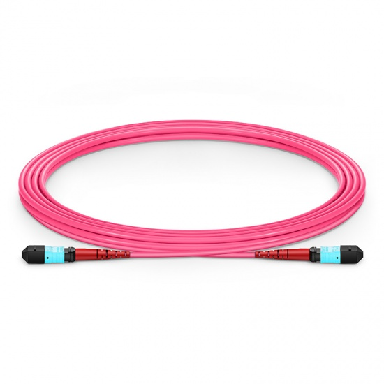 3m (10ft) MTP Female 24 Fibers Type A (TIA-568) Plenum (OFNP) OM4 (OM3) 50/125 Multimode Elite Trunk Cable, 100GBASE-SR10 CXP/CFP/CPAK, Magenta